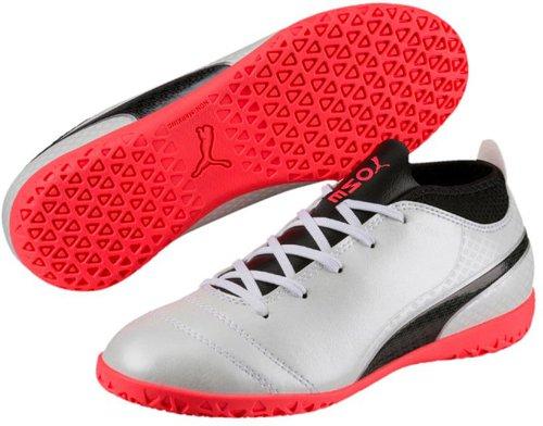 Puma Unisex-Kinder One 17.4 IT V Jr Fußballschuhe, Weiß (White-Black-Fiery Coral), 34 EU